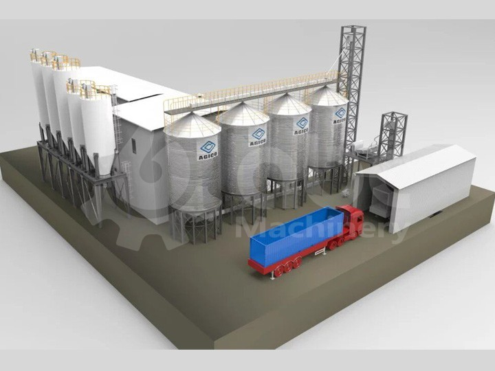 160TPD wheat flour mill plant design sketch
